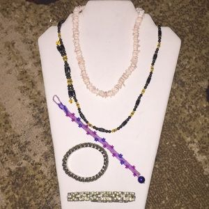 2 Necklaces 1 Hematite & 3 bracelets: 1 beaded,